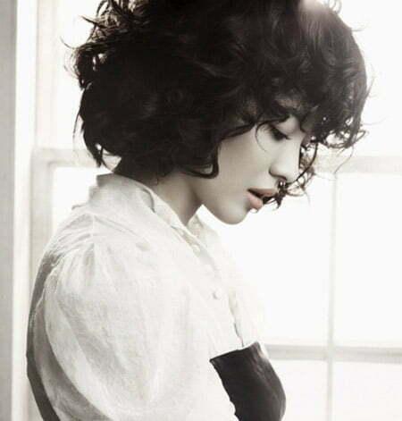 Lovely Curly Black Bob Cut
