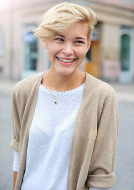 Lovely Pixie Cut with Wind-swept Bangs