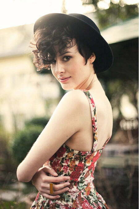 Lovely Pixie cut with Long Curly Bangs