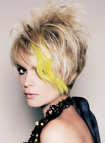 Messy Bob Cut with Yellow Hue