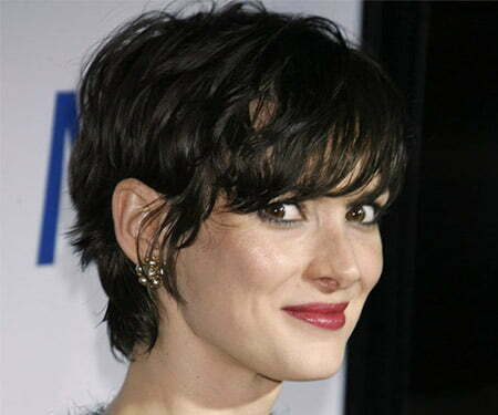 The Messy Pixie Cut of Winona Ryder with Fantastic Bangs
