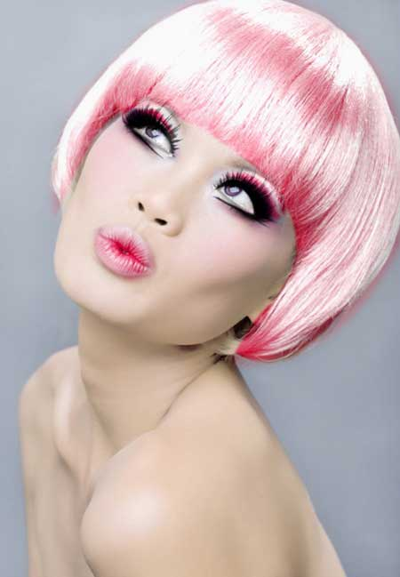 Pink with Slight Tinge of Blonde Hairstyle