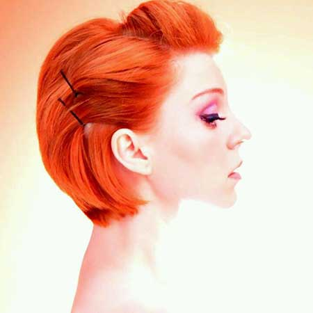 Pinned Flaming Red Short Bob Hairstyle