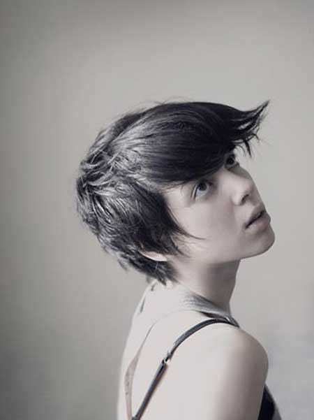 Pixie Cut with Wind-swept Bangs