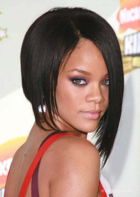 Rihanna's Awesome Asymmetric Bob Cut