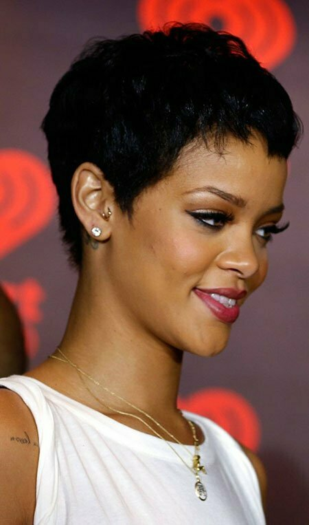 Pixie Cut With Color For Black Women Rihanna's Cool Black Pixie Cut