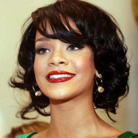 Rihanna's Lovely Bob Cut with Bangs