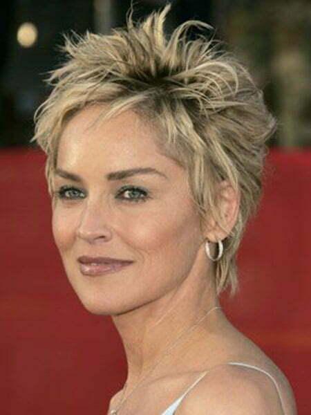 Sharon Stone's Messy Bob Cut