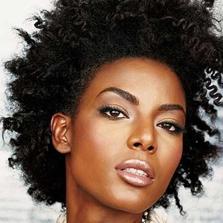 Short Afro Hairstyle with Gorgeous Coil
