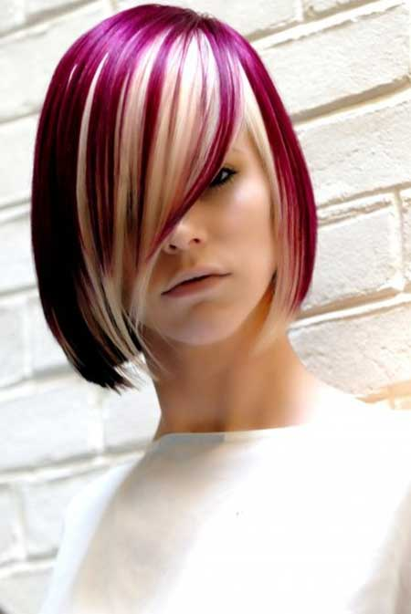 The Short Blonde Hairstyle with Henna Red Highlights.