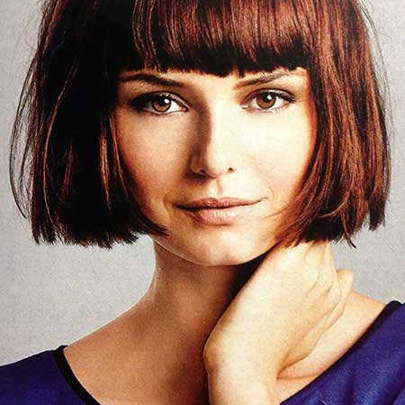 Short Symmetrical Bob With Heavy Bangs