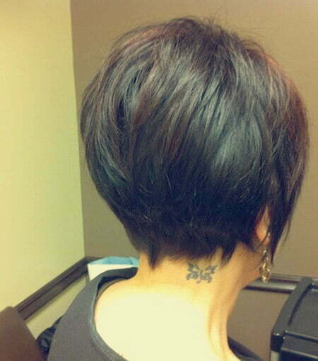 Back view of short layered hair