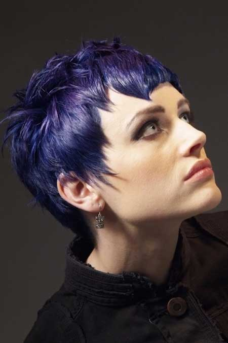Slate-blue Highlighted Hairstyle