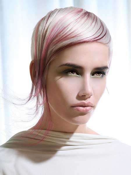 Sleek Blonde Hairstyle with Tinge of Light Purple