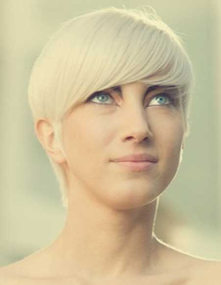 Sleek Snow-white Blonde Hairstyle
