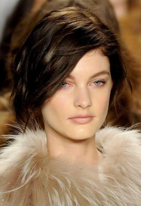 Soft Wavy Black Asymmetrical Hairstyle