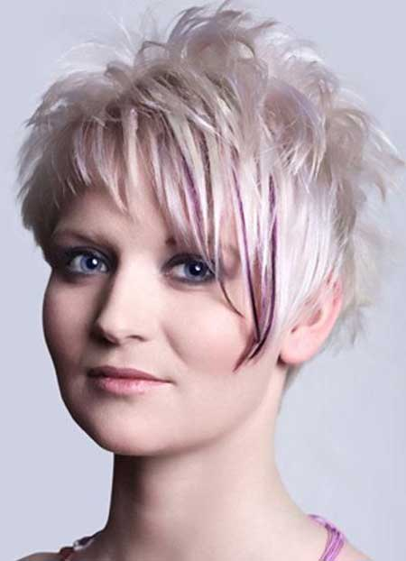 Spiky Blonde Hairstyle with tinge of Purple