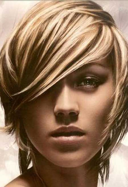 Trendy asymmetrical cut bob hairstyle