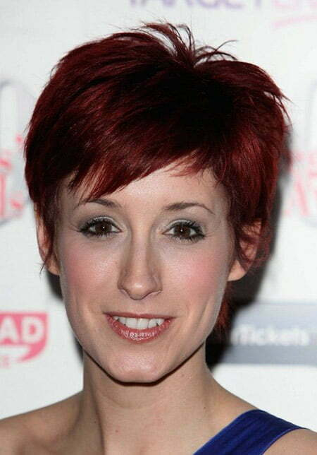 Warm Red-colored Pixie Cut