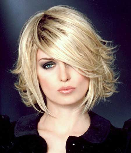 Pointy Voluminous Blonde Bob Layered Hairstyles