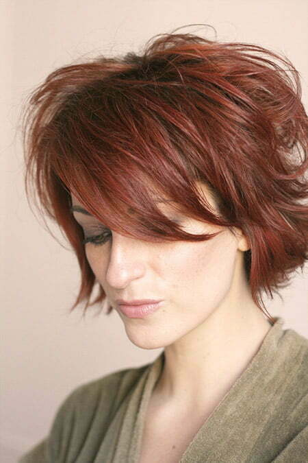 Lovely Messy Cherry Red Bob Cut