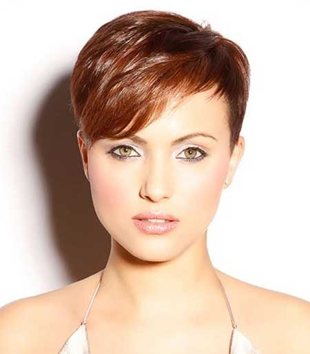 Super Short Pixie Hairdo With Long Side Swept Bangs
