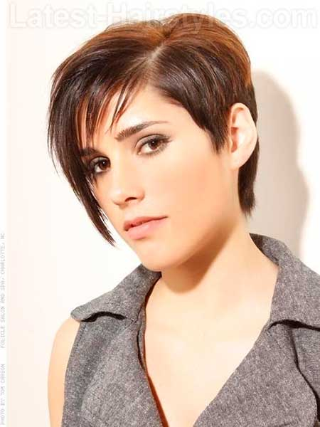 Short Boyish Hairstyle with Long Side Swept Bangs