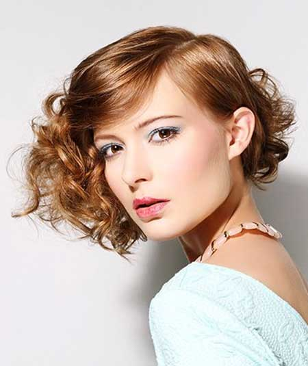 Asymmetrical Hairstyle for Girls with Curly Hair