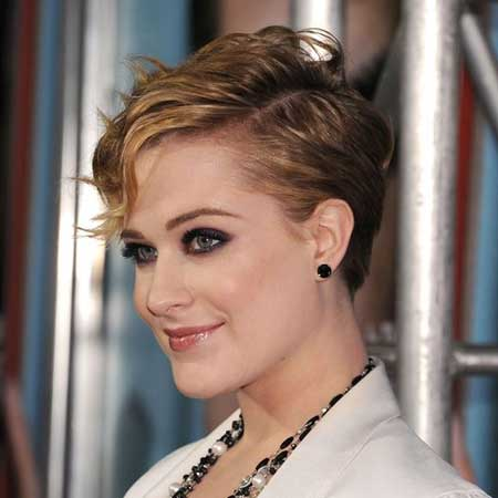 Evan Rachel Wood Pixie Cut with Little Wavy Strands of Hair