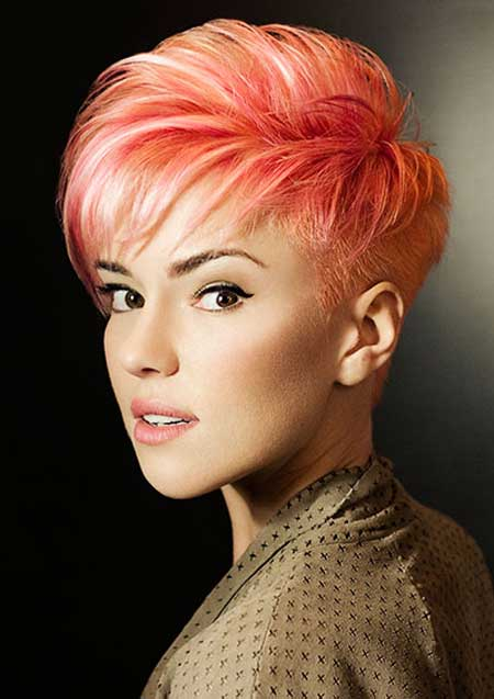 Very Charming And Fabulous Pixie Cut With Awesome Bangs Cool Hues Of Red Pink Orange Hair Color For Short