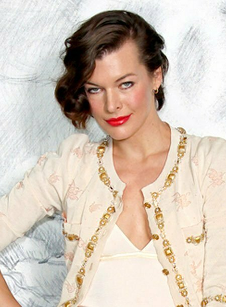 Milla Jovovich Short Asymmetrical Hairstyle
