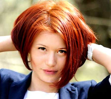 Side Parted Colored Bob Hairstyle with Inverted Ends