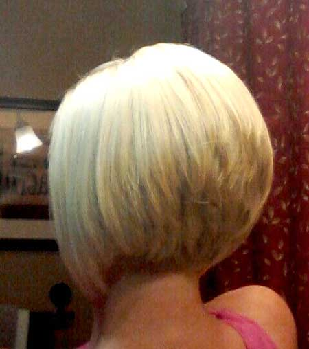 Back View of Blonde Colored Bob Hairstyle for Girls