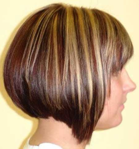 Short Asymmetrical Highlighted Bob Hairstyle