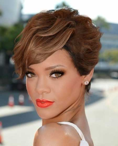 Rihanna Pixie Cut with Nice Light Ash Brown Hues