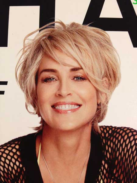 Sharon Stone Bob Hair with Cool Messy Arrangement