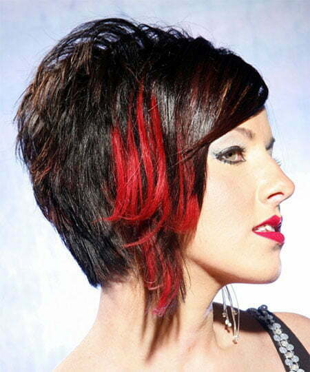 Short Black And Red Hairstyle