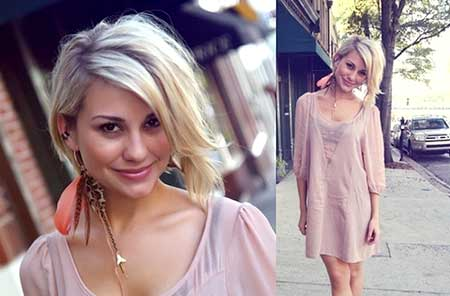 Short and Chic Asymmetrical Wavy Blonde Haircut