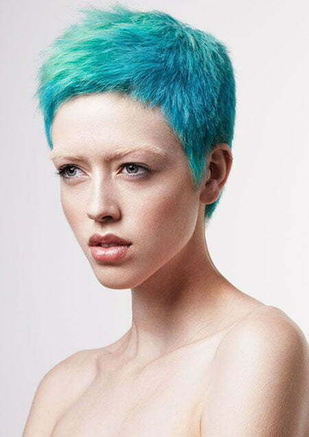 Cool Blue Pixie Cut