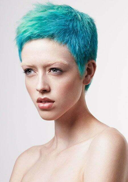 Cool Blue Pixie Cut