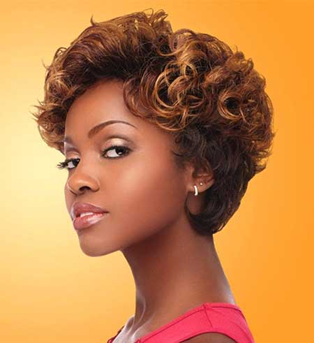 Short Curly Hairdo with Inverted Edgy Ends