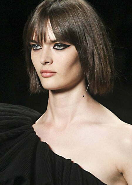 Short and Straight Hairstyle with Blunt Bangs