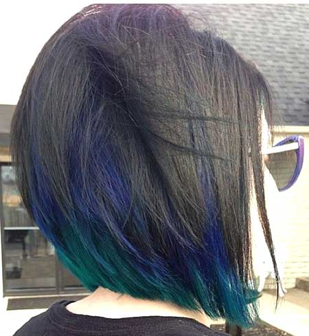 Peacock Colored Short Hairstyle for Girls