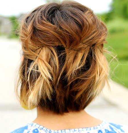 Back View of Pinned Wavy Short Hair