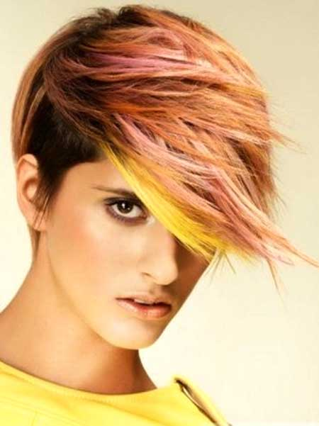 Highlighted Asymmetrical Edgy Short Haircut for Women