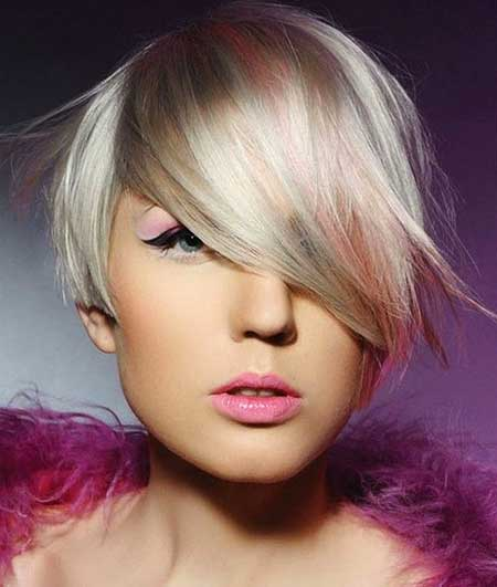 The Colored Asymmetrical Hairstyle for Girls