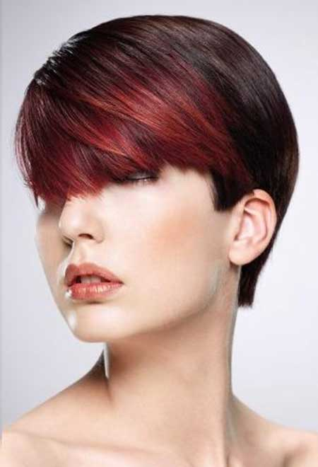 The Cool Light Brown-Colored Hair with Cherry Red Front Section