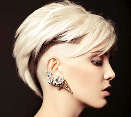 Blonde Colored Undercut Hairstyle for Girls