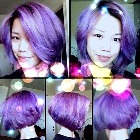 Light Purple Colored Short Wavy Bob Hair