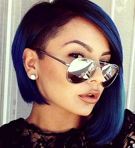 Blue Colored Asymmetrical Hairstyle for Girls 2015